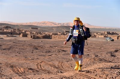 Evelina London fundraiser Mario Reballato during Marathon des Sables
