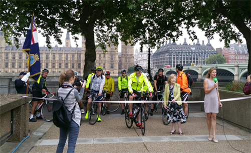 Gavin Tiffin leaving London on his cycle to Russia, fundraising for Evelina London Children's Hospital