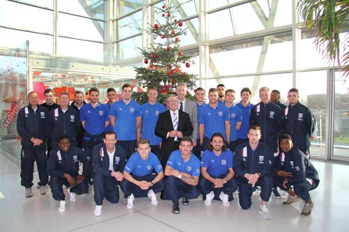 Gillingham FC squad on a visit to Evelina London