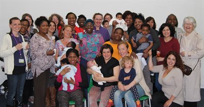 Group photo at breastfeeding pop-up 10-year celebration