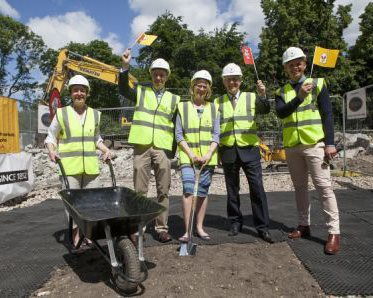 Sara Hanna, Grenville Fox, Marian Ridley, Hugh Taylor and Jeff Brazier at the Ronald McDonald House groundbreaking ceremony