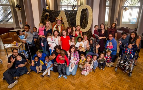 Parents and children enjoying Evelina London's 10th birthday party