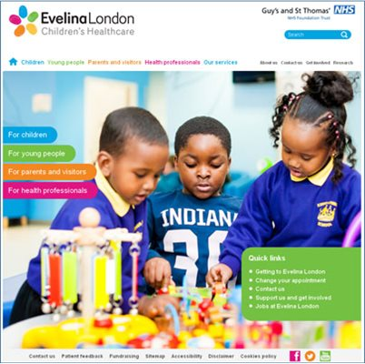Evelina London website homepage