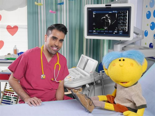 Dr Ranj with Deep from CBeebies show 'Get Well Soon'