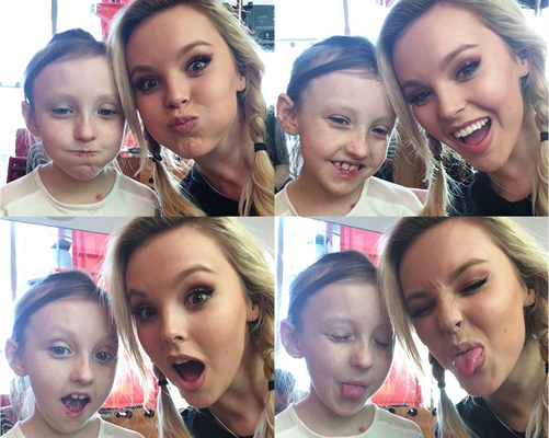A collage of selfie pictures of Evelina London patient Rosie and Betsy Blue-English