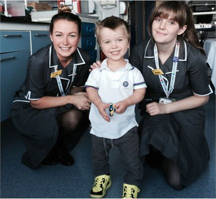 Joanna Poulter, research nurse (left), Sam Short and Emma Glass (research nurse)