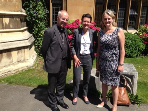 Archbishop of Canterbury Justin Welby, Dr Sara Hanna and Lambeth Council leader, Lambeth Cllr Lib Peck.