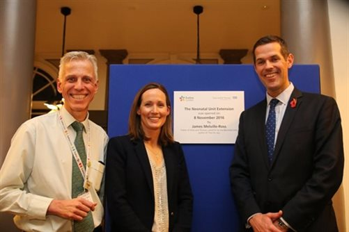 Dr Tim Watts with Georgie and James Melivlle-Ross after unveiling a plaque to mark the Neonatal Unit extension opening