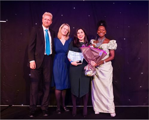 Left to right Mark Durenkamp, Imogen Durenkamp, Raquel Martins Pina and Baroness Floella Benjamin OBE