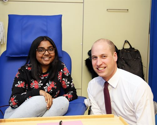 HRH Duke of Cambridge visiting patient Aidah whilst on dialysis on Beach Ward