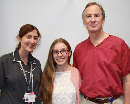 Katie Braybrook with specialist nurse Rachel Hunt and surgeon Mr Jonathan Lucas