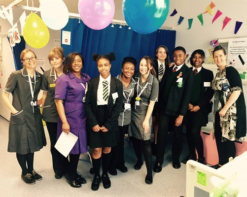 Students from a Lambeth school learning about clinical trials with the Evelina London research team
