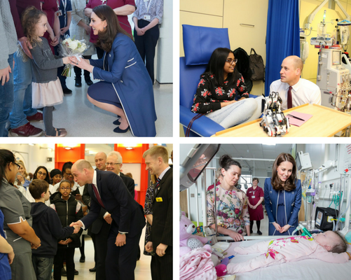 Collage of visits by HRH The Duke and Duchess of Cambridge