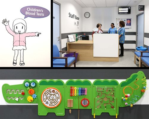 The children's blood test centre reception and artwork including a giant interactive crocodile to keep younger children occupied.