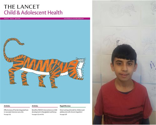 Lancet competition winner Faisal beside his tiger artwork appearing on the front cover of a journal