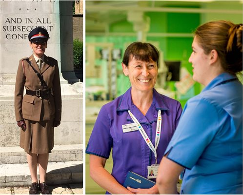 Army reservist Louise Dewsbury in her army uniform and on the ward as a nurse
