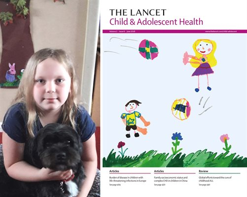 Young artist Amber posing with her dog Rosie next to an image of her artwork showing children playing on the cover the The Lancet medical journal