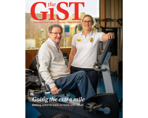 The front cover of the June edition of the GiST showing a patient having rehabilitation