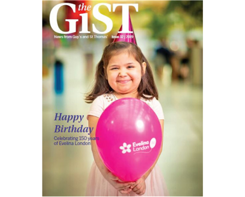 "The cover of issue 32 of The GiST, featuring a little girl with a birthday hat and balloon. Words on the cover say ""Happy Birthday Celebtrating 150 years of Evelina London"""