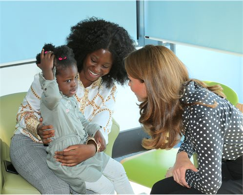 Her Royal Highness, The Duchess of Cambridge, meeting a mum and little girl.