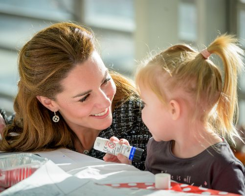 HRH The Duchess of Cambridge with an Evelina London patient