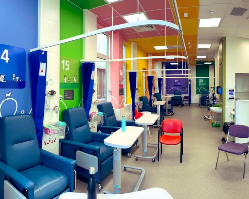 Evelina London's bright and colourful allergy day centre in Snow Leopard ward.