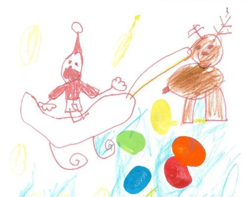 A child's drawing of Santa in his sleigh with a reindeer and the Evelina London logo