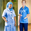 Staff nurses are qualified nurses who provide patient care on wards and in outpatient departments. They wear light blue uniforms.