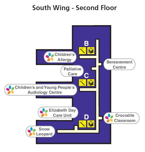 Map of Second Floor, South Wing, St Thomas' Hospital