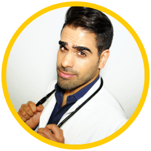 Dr Ranj wearing a stethoscope round his neck