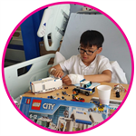 Munkh playing with lego at Evelina London hospital