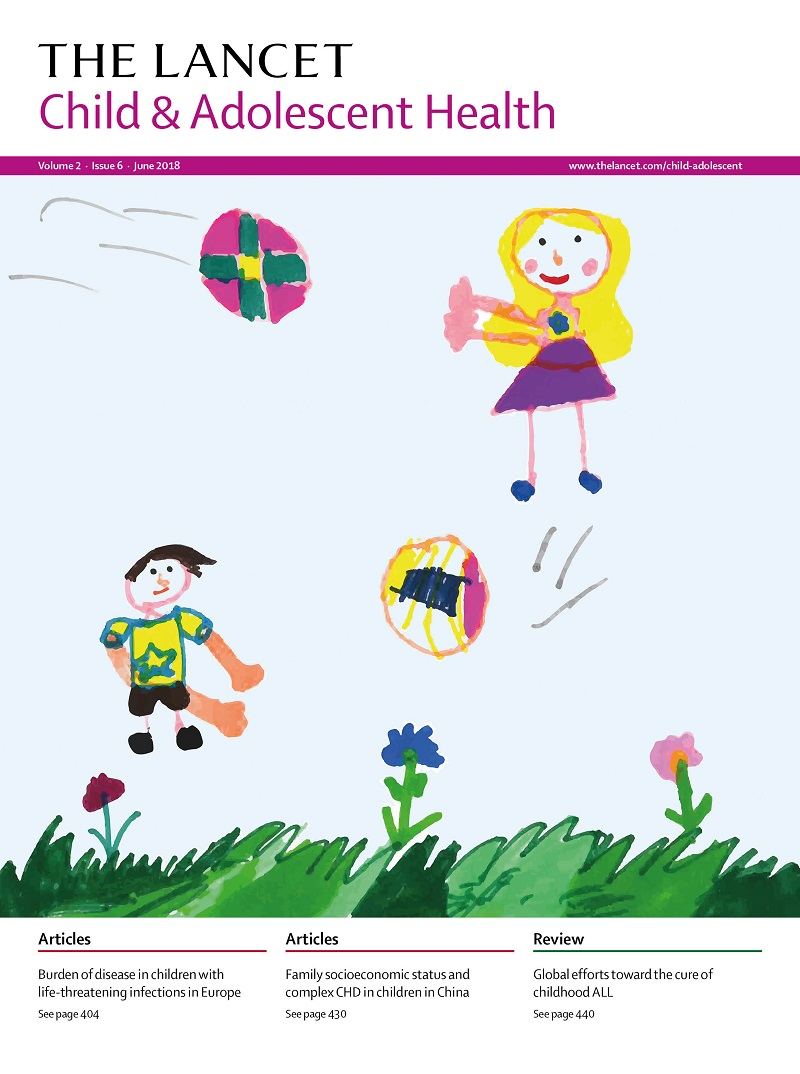 Lancet magazine cover art: boy and girl playing outside by Amber