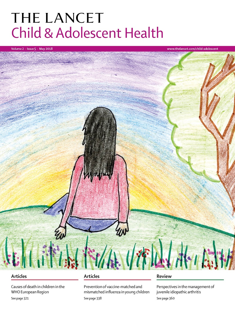 Lancet magazine cover art: Girl sat on a hill looking into the sunset by Emma