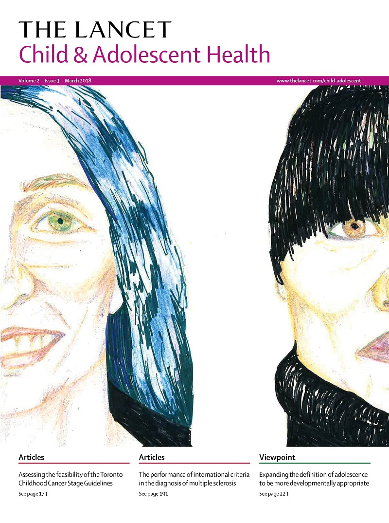 Lancet magazine cover art: two faces, only half of each shown by Shakia