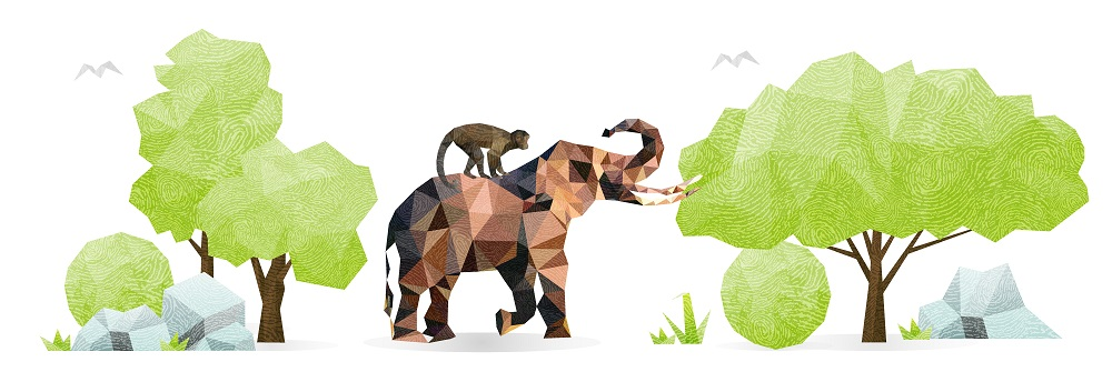 Elephant and monkey with trees cartoon