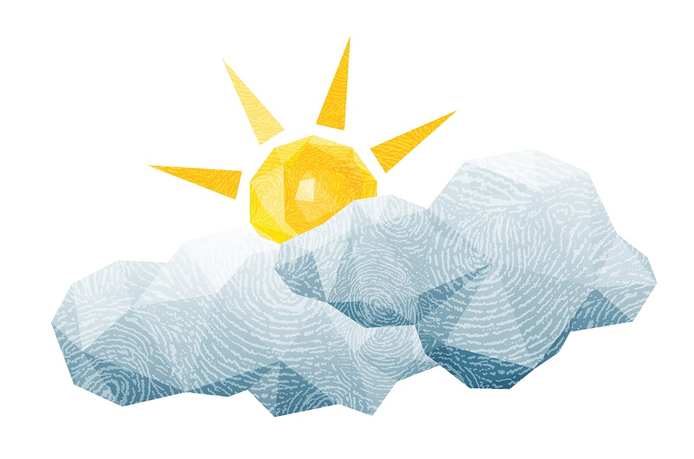 Cartoon sun and clouds