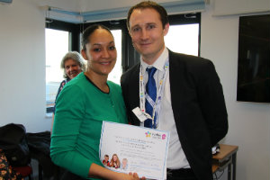 Fransheena receiving her Evelina 150 Stars award