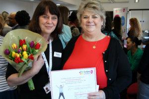 Jo Bolton receiving her Evelina 150 Star award