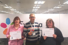 The Evelina London education team with their 150 Star certificates