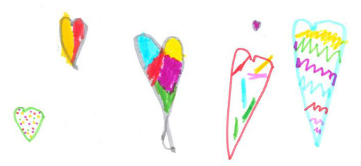 A child's drawing of colourful hearts.