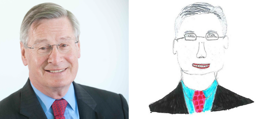 A photo of Sir Cyril Chantler next to a child's drawing of him