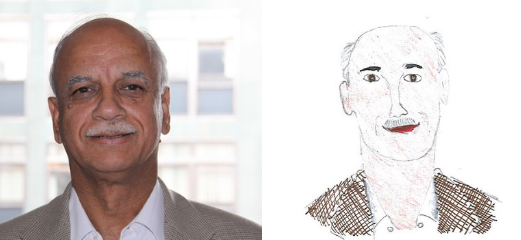 A photo of Professor Shak Qureshi next to a child's drawing of him