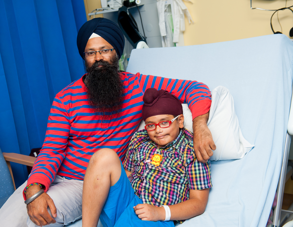 Dad and son on a ward at Evelina London