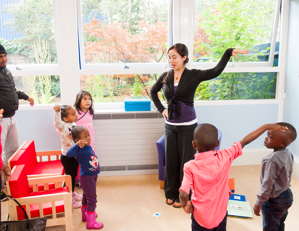Children with speech and language therapist at Mary Sheridan Evelina London