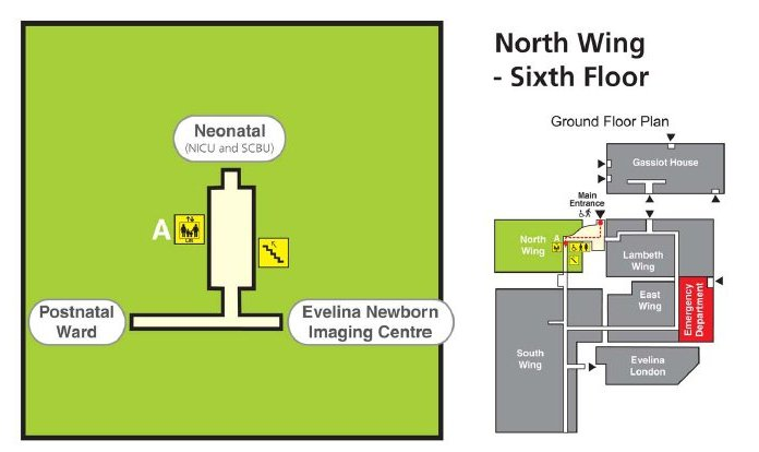 Map to the Neonatal Unit at St Thomas'