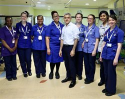 Mayor of London with nurses at Evelina London