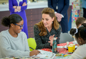 HRH The Duchess of Cambridge with an Evelina London patient who is creating artwork.