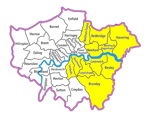 Map of the areas covered by the Evelina London assistive communication service