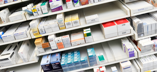 Medicines inside pharmacy