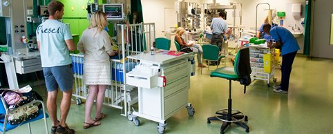 Doctors, nurses, families and patients in the Paediatric Intensive Care Unit (PICU).